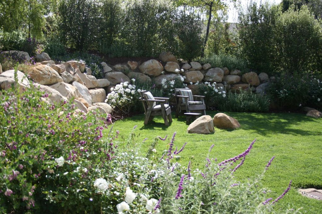 Yard Design Ideas 23 impressive sunken design ideas for your garden and yard 3 Tags Cottage Landscapeyard With Sunbrella Oasis Dolce Stripe Outdoor Throw Pillow Boulders And Large