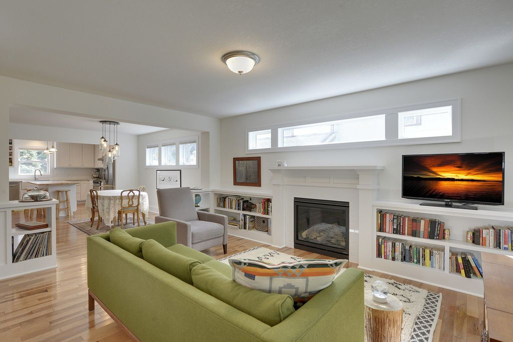 Fireplace Design fireplace cement : Traditional Living Room with flush light & Cement fireplace in ...