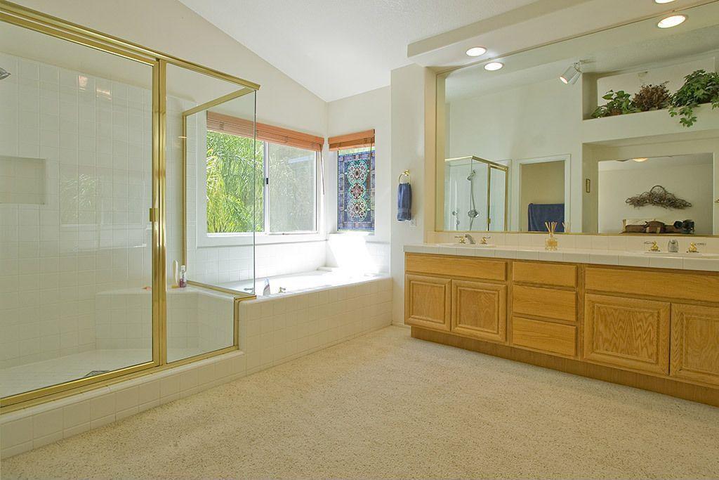 Traditional Master Bathroom With Flat Panel Cabinets, Drop In Bathtub,  Master Bathroom,