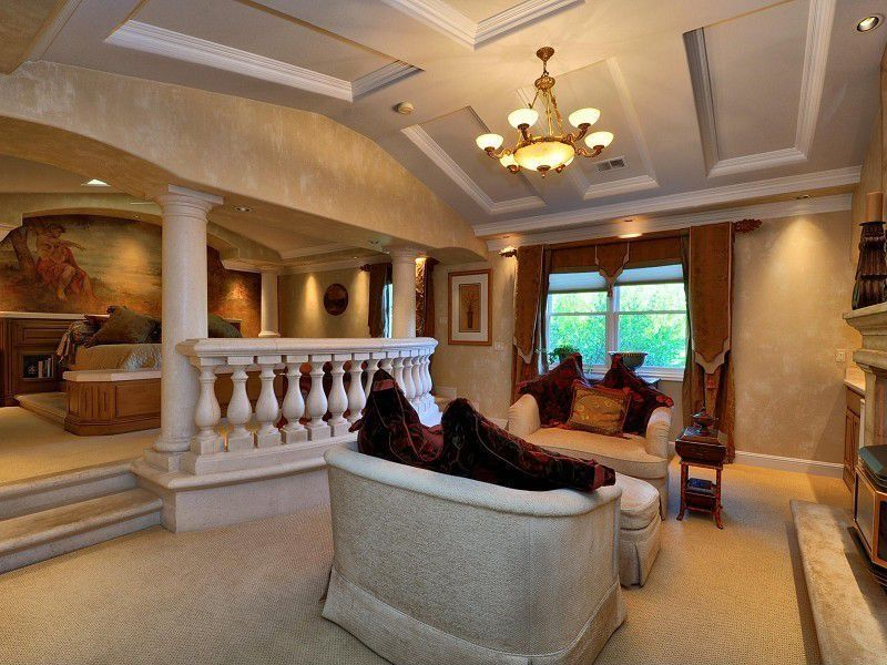 Mediterranean Living Room With Carpet, Columns, Gianni 9 Light Candle  Chandelier By Y Decor Part 64