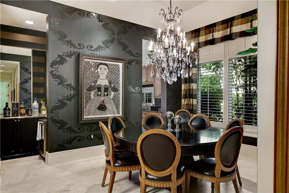 Art Deco Dining Room With Chandelier High Ceiling Wallpaper Interior Travertine