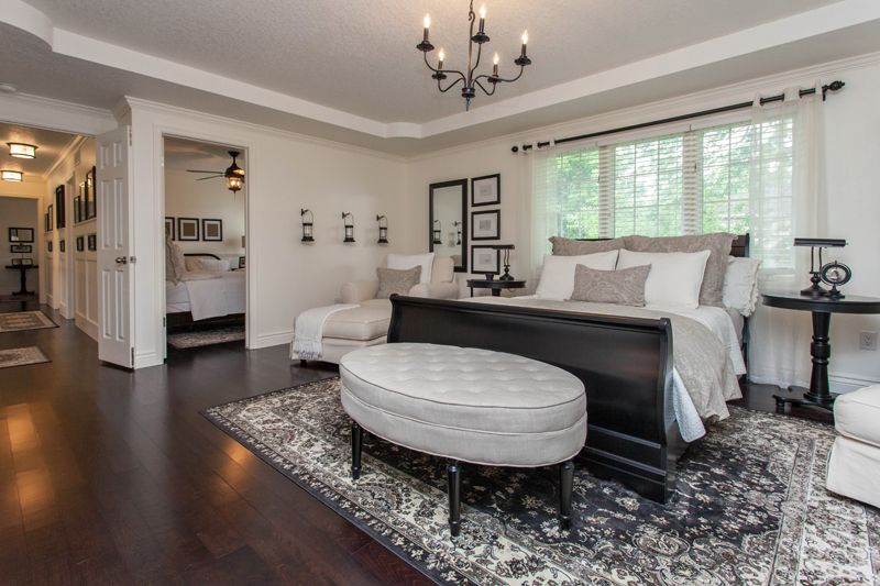 Traditional Master Bedroom With Hardwood Floors amp Pendant