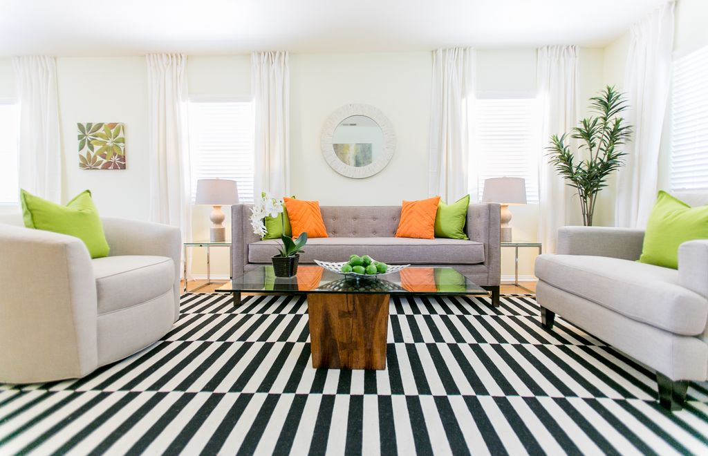 Nice Living Room With Cost Plus World Market Black And White Striped Dhurrie Rug,  Laminate Floors Part 28