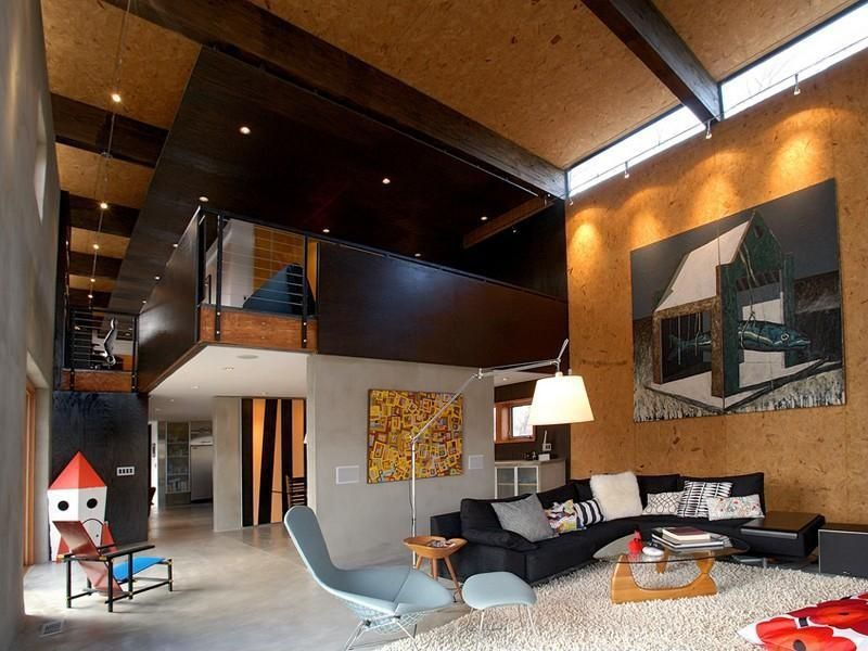 Modern Living Room With Exposed Beam Interior Wallpaper Concrete Floors Loft Flush