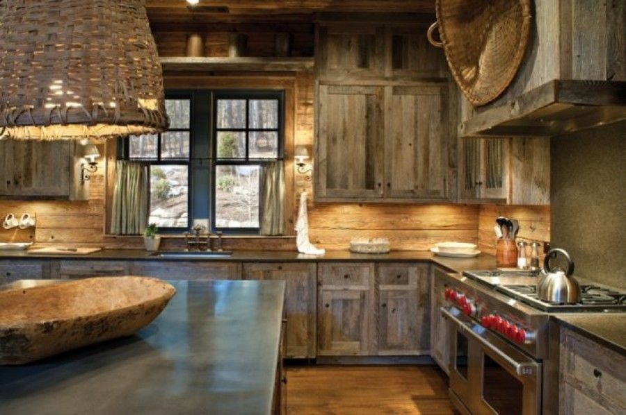 Rustic Kitchen With Concrete Counterop Hardwood Floors 48 Dual Fuel Range