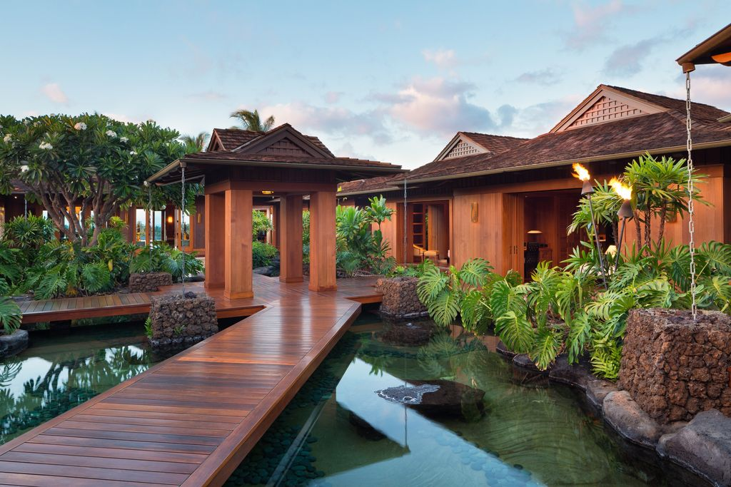 Contemporary landscape and yard with raised beds pond for Hawaii home building packages