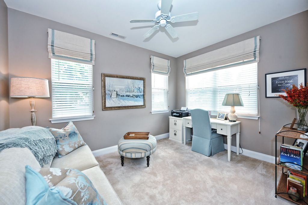 Contemporary Home Office with Ceiling fan by Catherine Cauthen