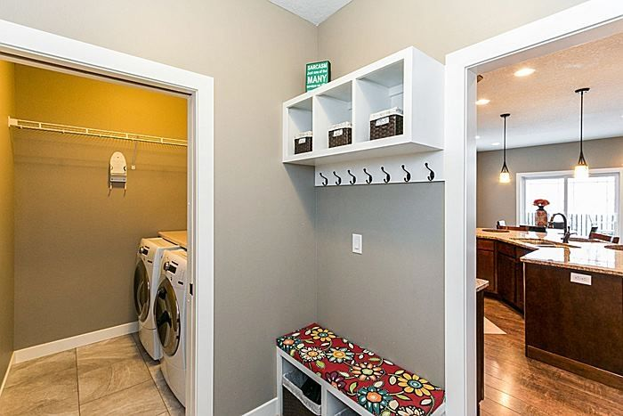 Traditional Laundry Room With Custom Bench Cushion American Home Alice Wall Shelf