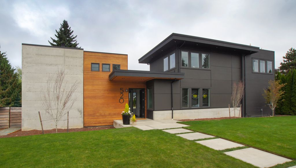 Modern exterior of home with gate by atelier drome llp for Modern house zillow