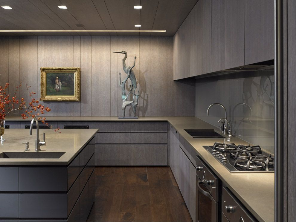 Contemporary kitchen with l shaped by jackie turner - Cuisine taupe mat ...