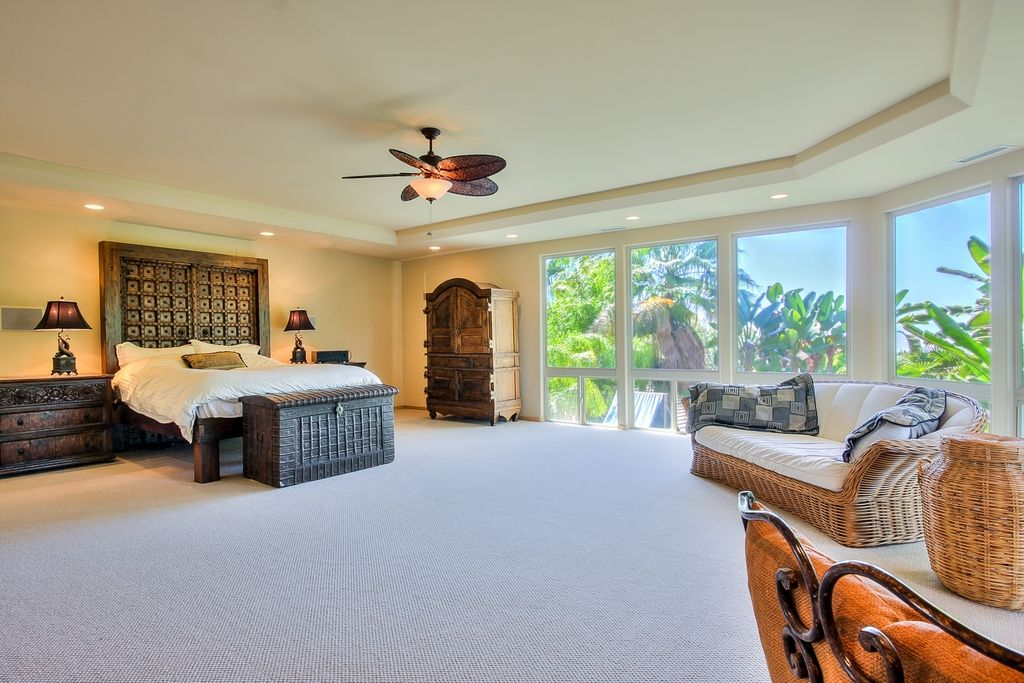 Tropical Master Bedroom With Ceiling Fan, Carpet, Flush Light, High Ceiling
