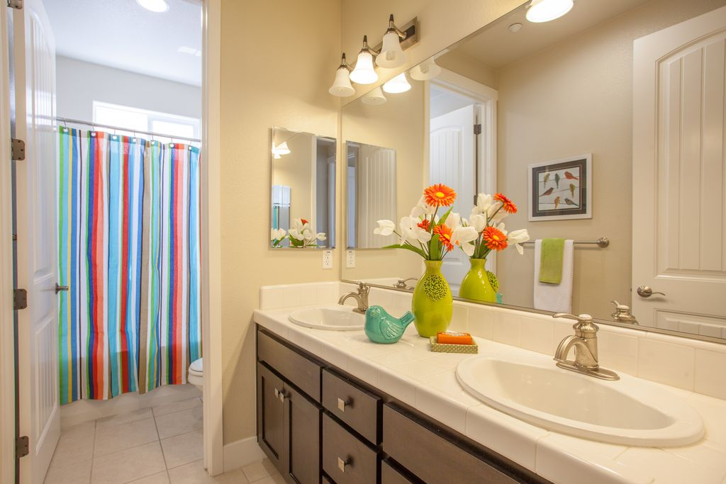 4 Tags Eclectic Kids Bathroom With European Cabinets, Le Jardin Stripe  Shower Curtain, Drop In Part 68