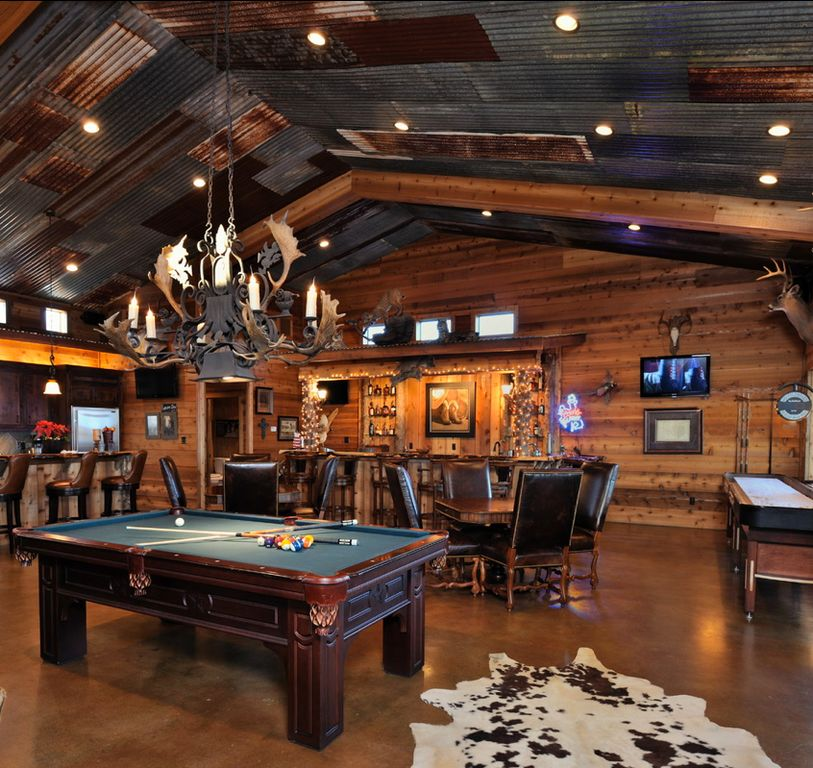 Game Room: Rustic Game Room With Cathedral Ceiling By Doug Hall