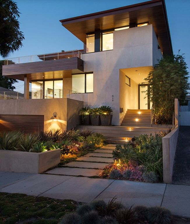 Modern Exterior of Home with Pathway  Accent landscape lighting  Bronze LED  Step LightModern Exterior of Home with Accent landscape lighting   Pathway  . Modern Exterior Path Lighting. Home Design Ideas