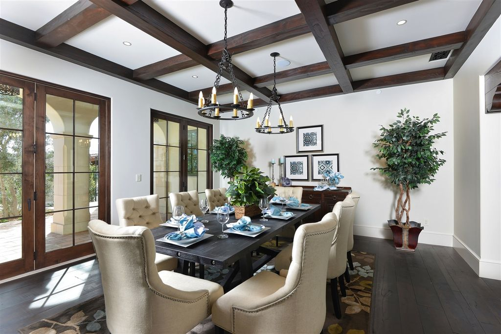 Mediterranean Dining Room With Hardwood Floors Custom Smooth Beams Carpet Rectangular Black Greyson