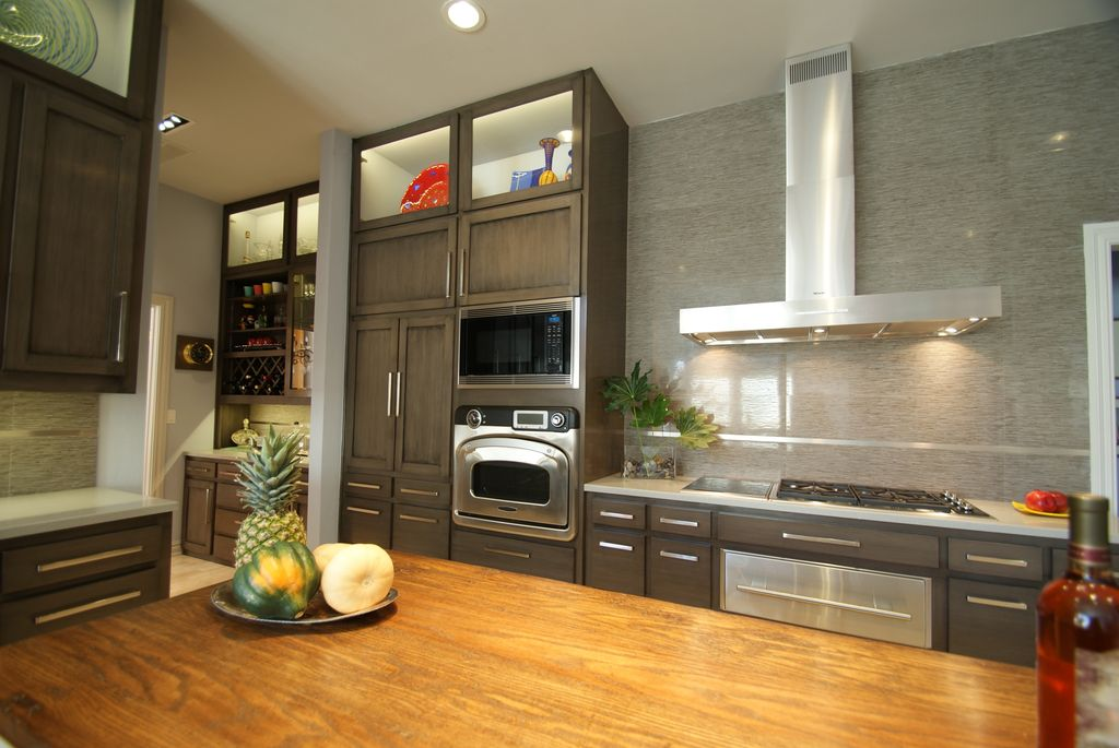 modern kitchen with large ceramic tile wall quartz countertop european cabinets built in