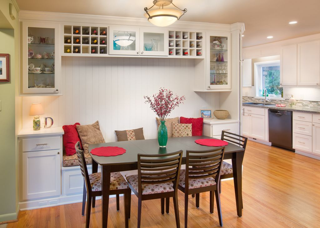 Cottage Dining Room With Built In Wine Rack, Built In Wine Storage,  Hardwood Floors Part 64