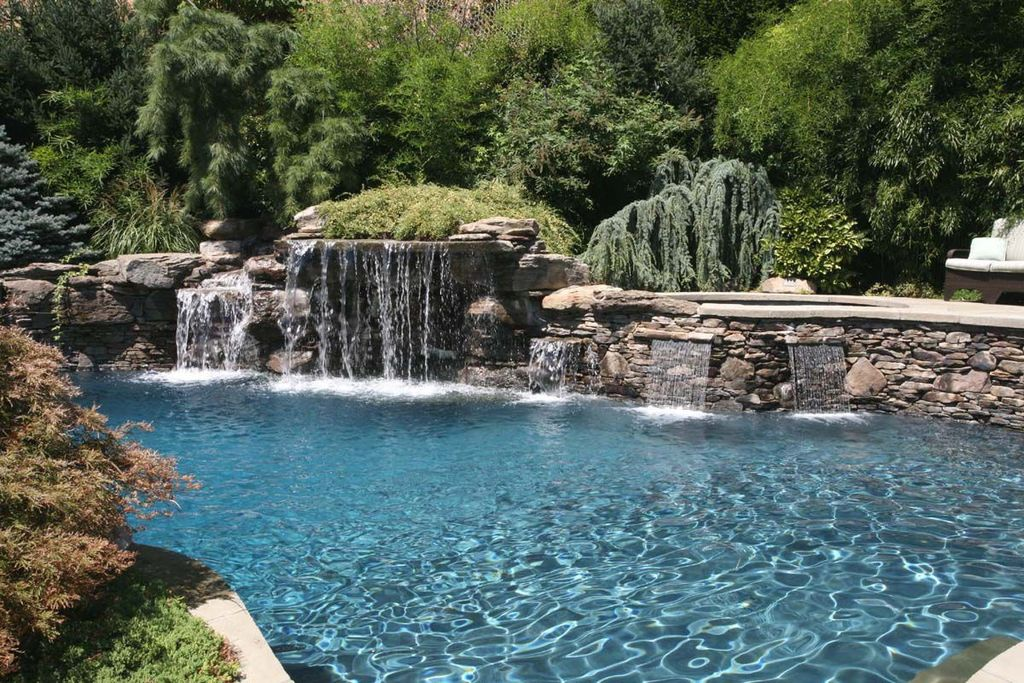 rustic swimming pool with raised beds private pool private backyard custom pool waterfall