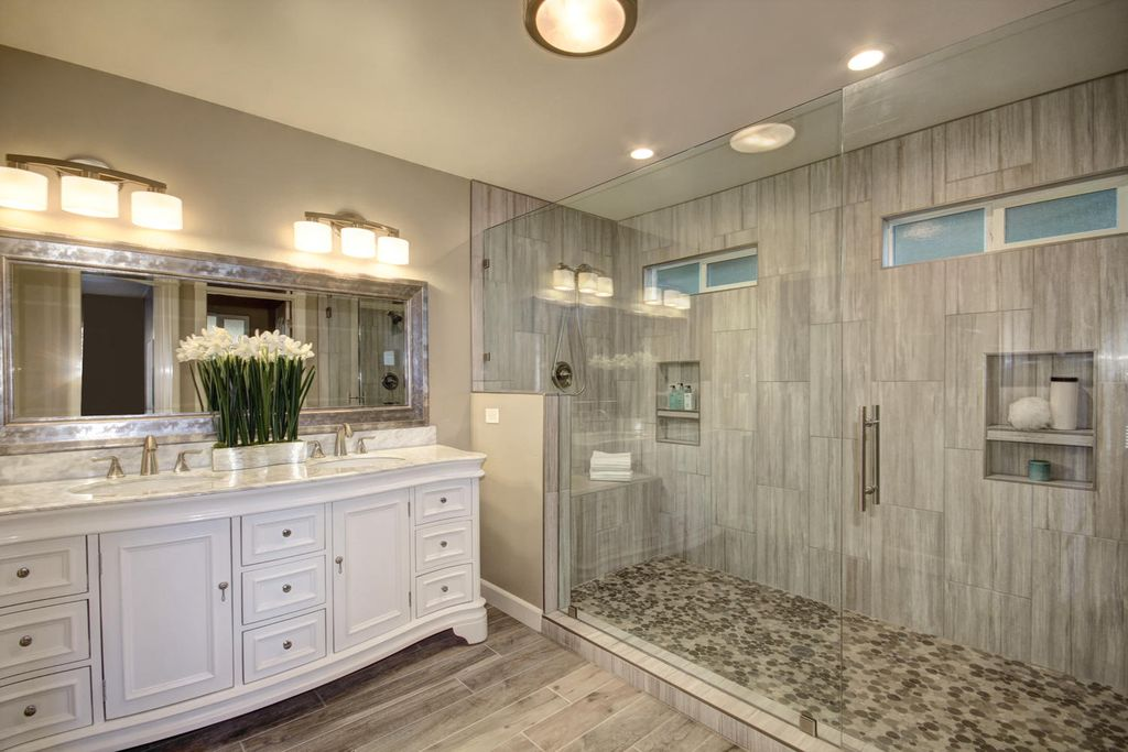 traditional master bathroom with order a custom frame to fit katherine 72 double bathroom - Master Bath Design Ideas