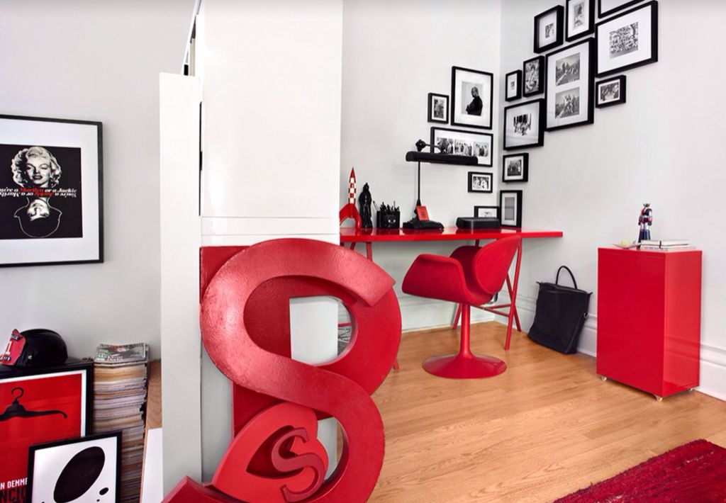 red black home office. Modern Home Office With Grady Bankers Black Bronze LED Piano Desk Lamp, Matte Wall Red G