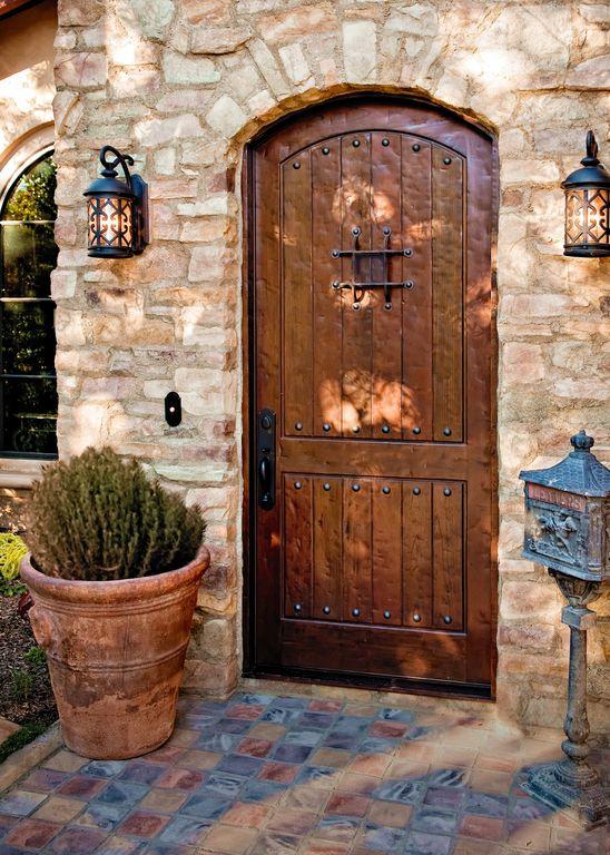 Mediterranean Front Door With Slate Tile Floors By Morey