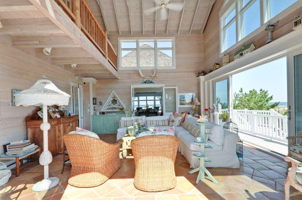 Cottage Living Room With Farallon Armchair Exterior Tile Floors Terracotta