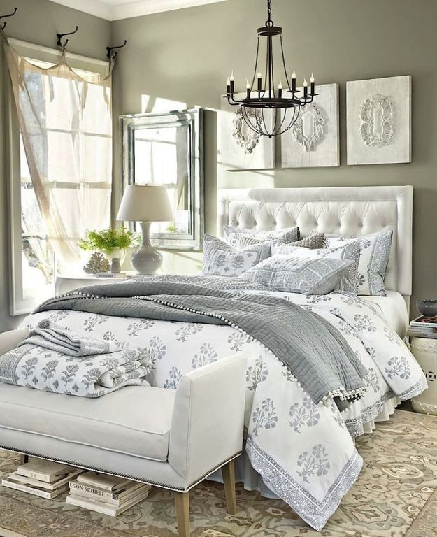 Traditional Master Bedroom With High Ceiling, Chandelier, Ballard Design  Ava Block Print Bedding,