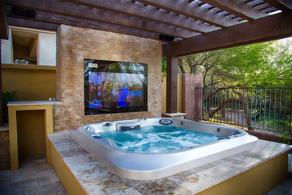 hot tub in living room contemporary tub with fence by imagine backyard living 18943