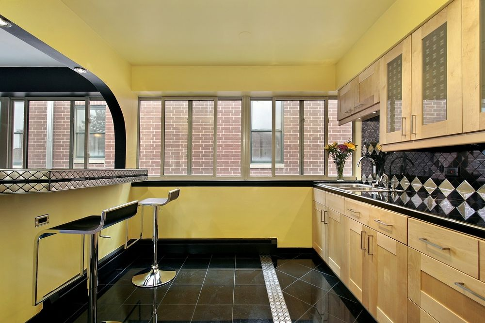 Art Deco Kitchen Design Ideas Part - 26: 3 Tags Art Deco Kitchen With Slate Tile Floors, Stone Tile, Flush, Glass  Panel,