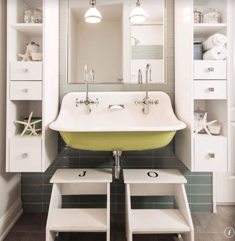 Contemporary Full Bathroom With Kids Bathroom, Wall Mounted Sink, Pendant  Light, Ikea Bekvam