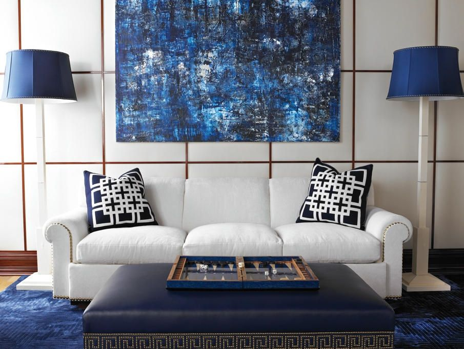 Marvelous Modern Living Room With Abstract Painting Blue Modern Original Minimalist  Geometric Large Canvas Part 14