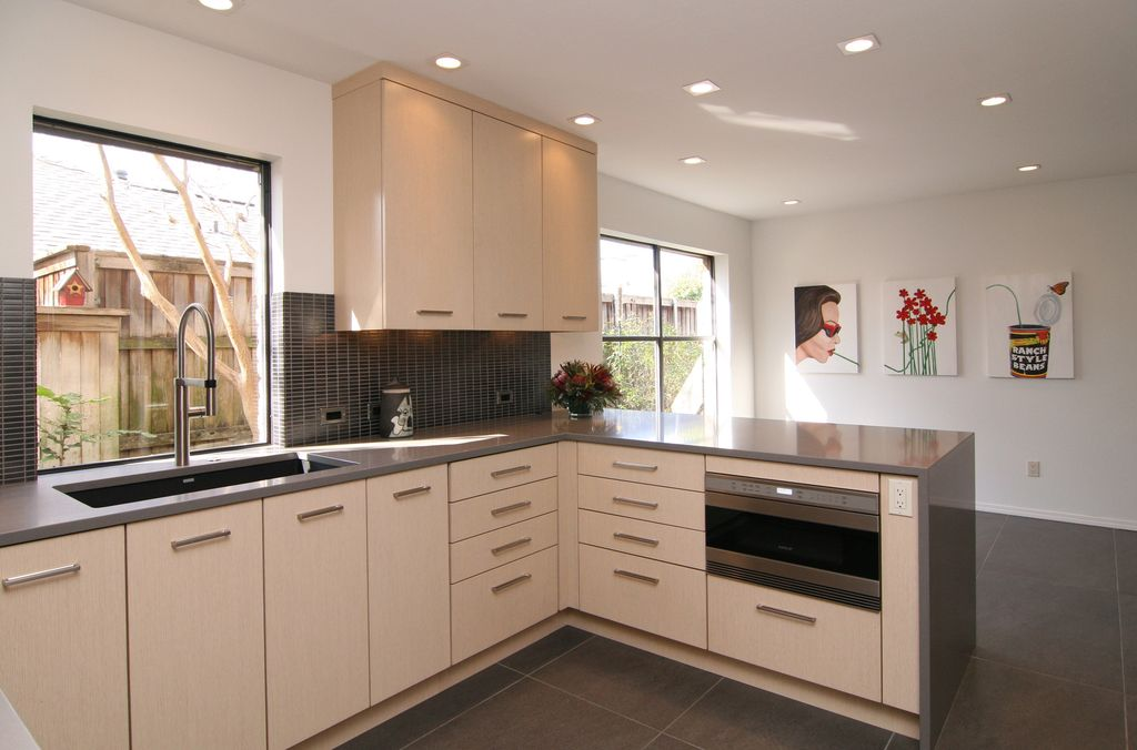 Contemporary Kitchen with Glass Tile by The Kitchen Source ...