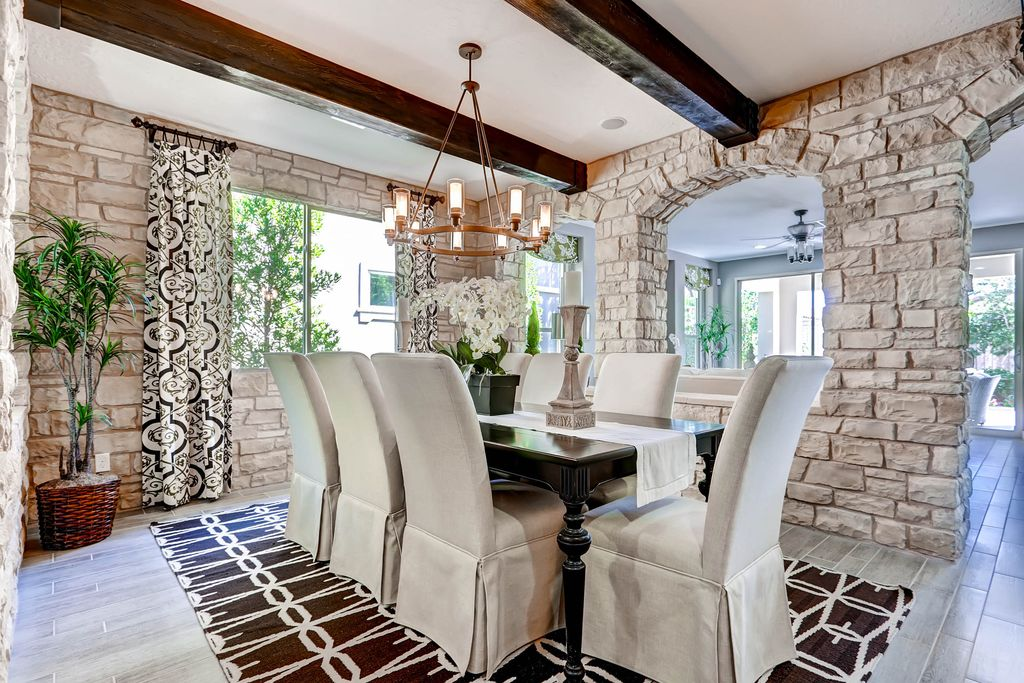 Traditional Dining Room with Exposed beam & Hardwood floors in ...