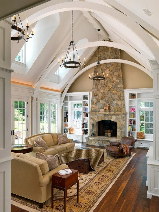 Traditional Living Room Fireplace traditional living room with cathedral ceiling & stone fireplace