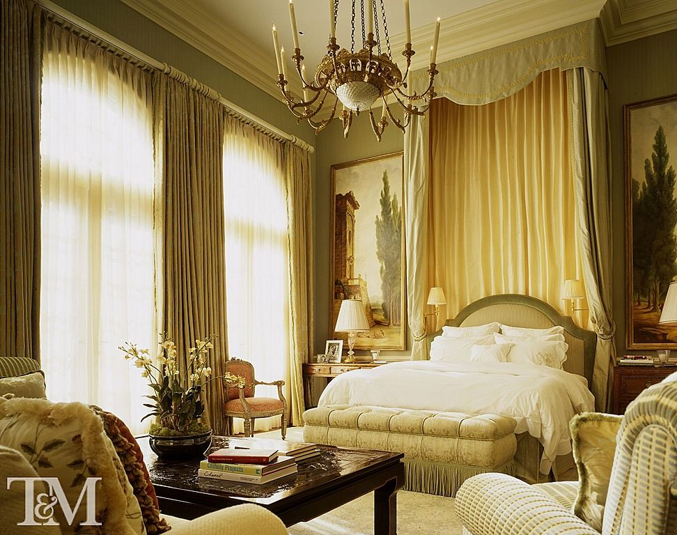 Traditional Master Bedroom with Carpet & Floor to ceiling curtain ...