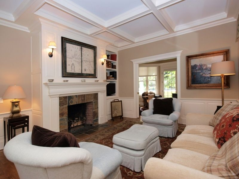 chair rail living room. Traditional Living Room With Wainscoting, Terracotta Tile Floors, Box Ceiling, Chair Rail, Rail