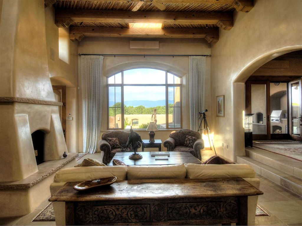 Mediterranean Living Room with Sunken living room & Exposed beam ...