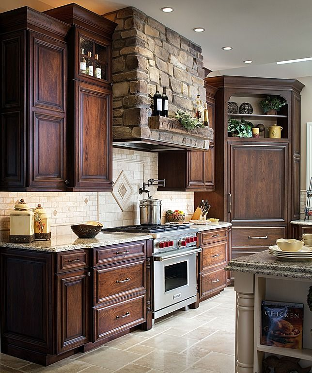 Dark Stained Kitchen Cabinets: Traditional Kitchen With Raised Center Panel Full Overlay