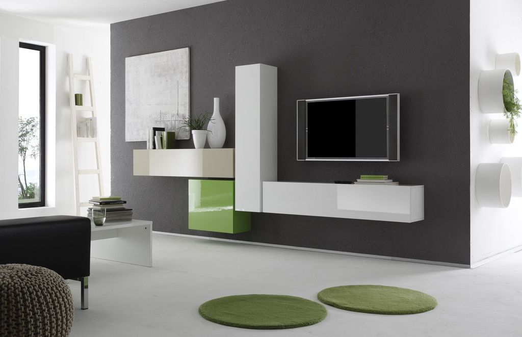 Modern living room with concrete floors by moderno design - Wohnzimmerwand modern ...