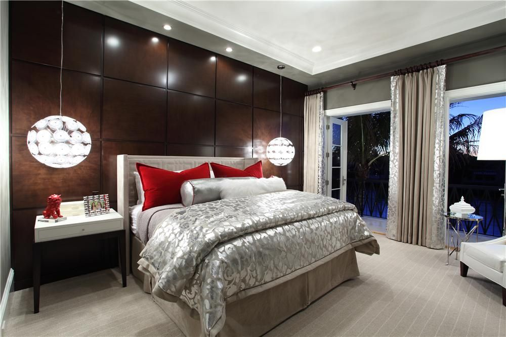Contemporary Master Bedroom With Carpet Amp Pendant Light In