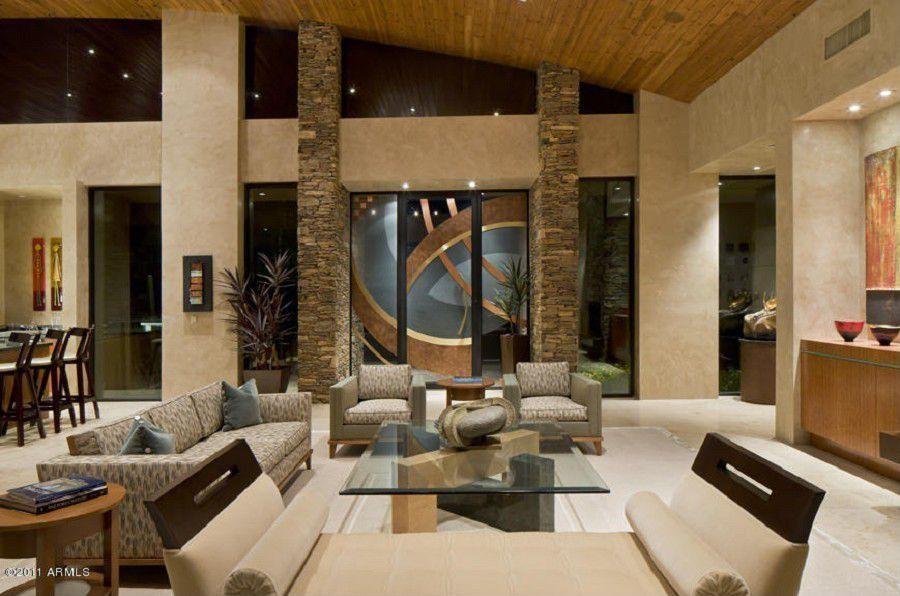Modern Living Room with High ceiling simple granite floors in