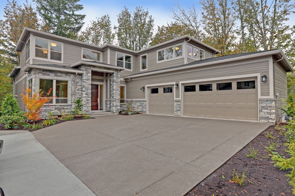 Rustic Exterior of Home with exterior stone floors in Portland, OR ...