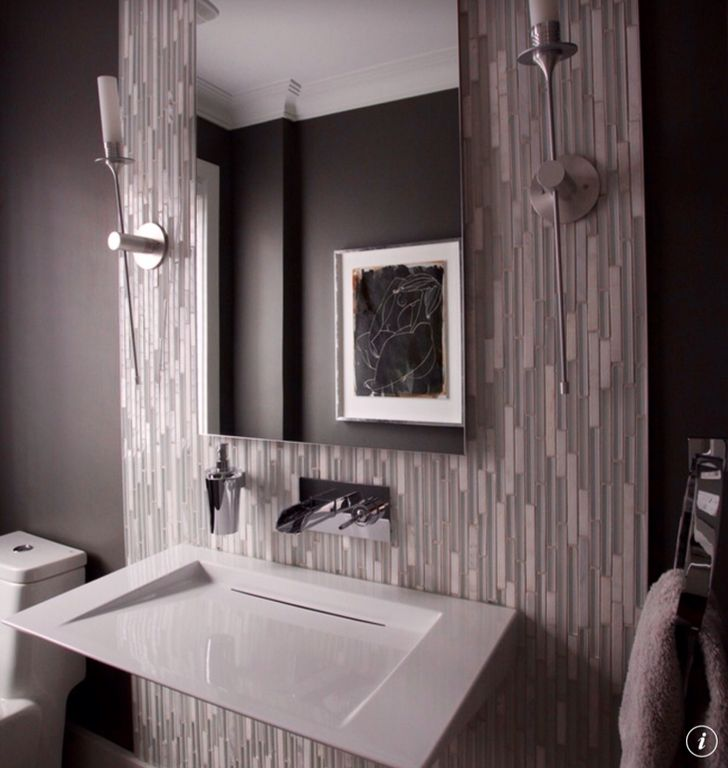 Gray Powder Room With Grey Grasscloth: Contemporary Powder Room With Wall Sconce & Powder Room