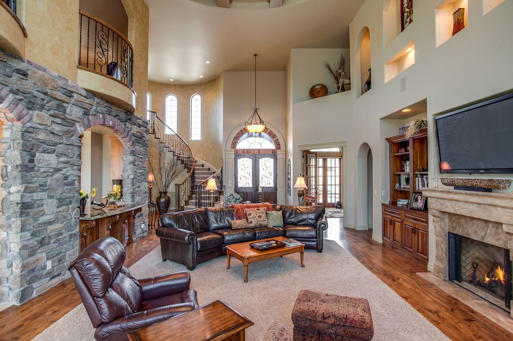 5 tags Mediterranean Living Room with Hardwood floors  High ceiling  Cement  fireplace  Built in. Luxury Living Room Balcony Design Ideas   Pictures   Zillow Digs