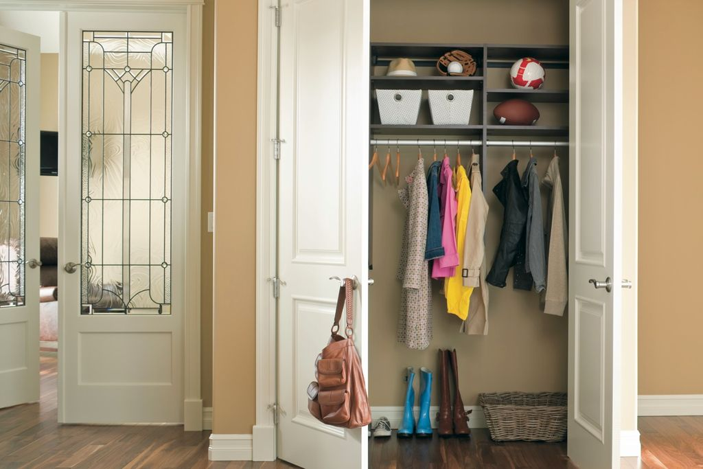 4 tags transitional closet with art glass door high ceiling hardwood floors built in - Closet Design Ideas
