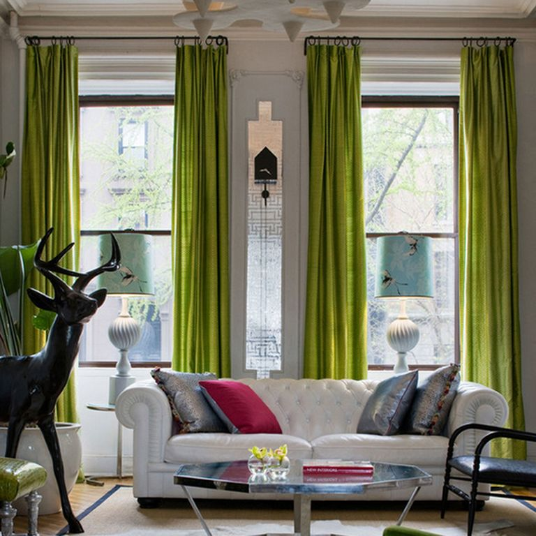 Eclectic Living Room With Silky Touch Window Curtains, Design Your Own  CUSTOM LAMP SHADE