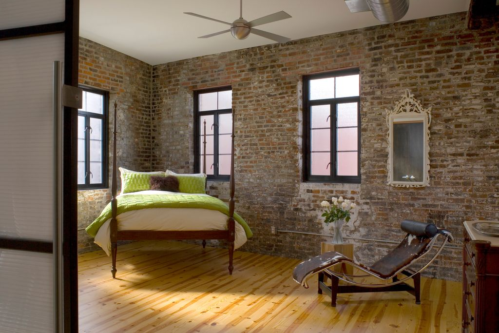 Brick Studio Apartment modern guest bedroom with exposed beamstudio durham architects