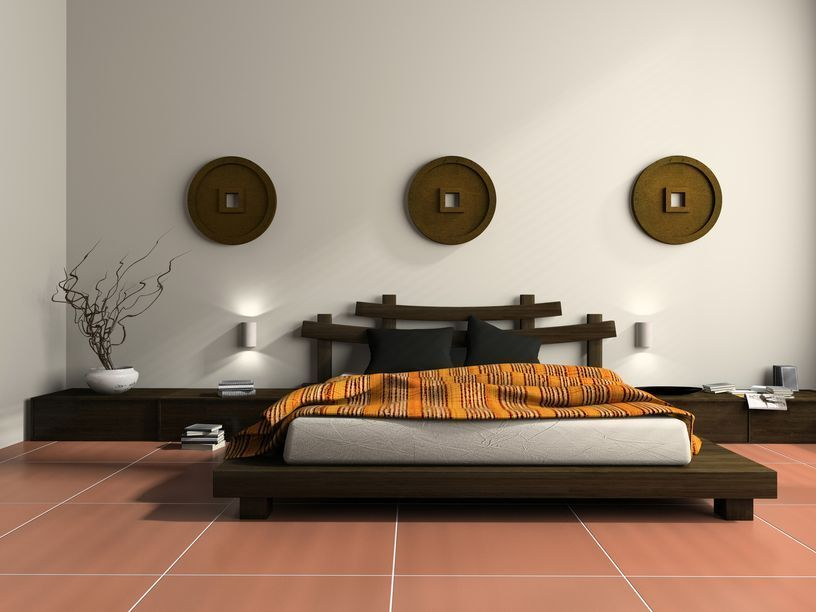 master bedroom with high ceiling kondo japanese platform bed travertine tile floors