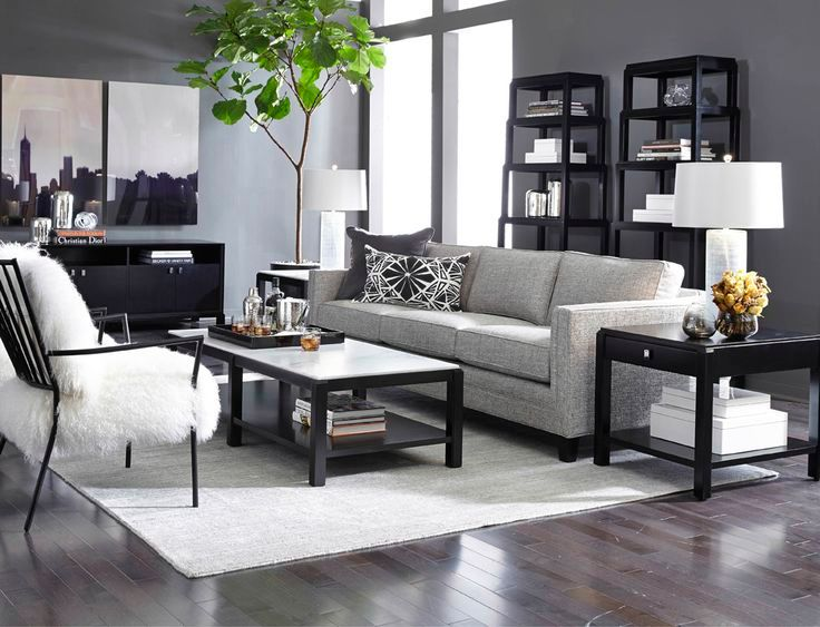 Contemporary Living Room With Hardwood Floors Carpet HONORE ETAGERE DRAWER SIDE TABLE