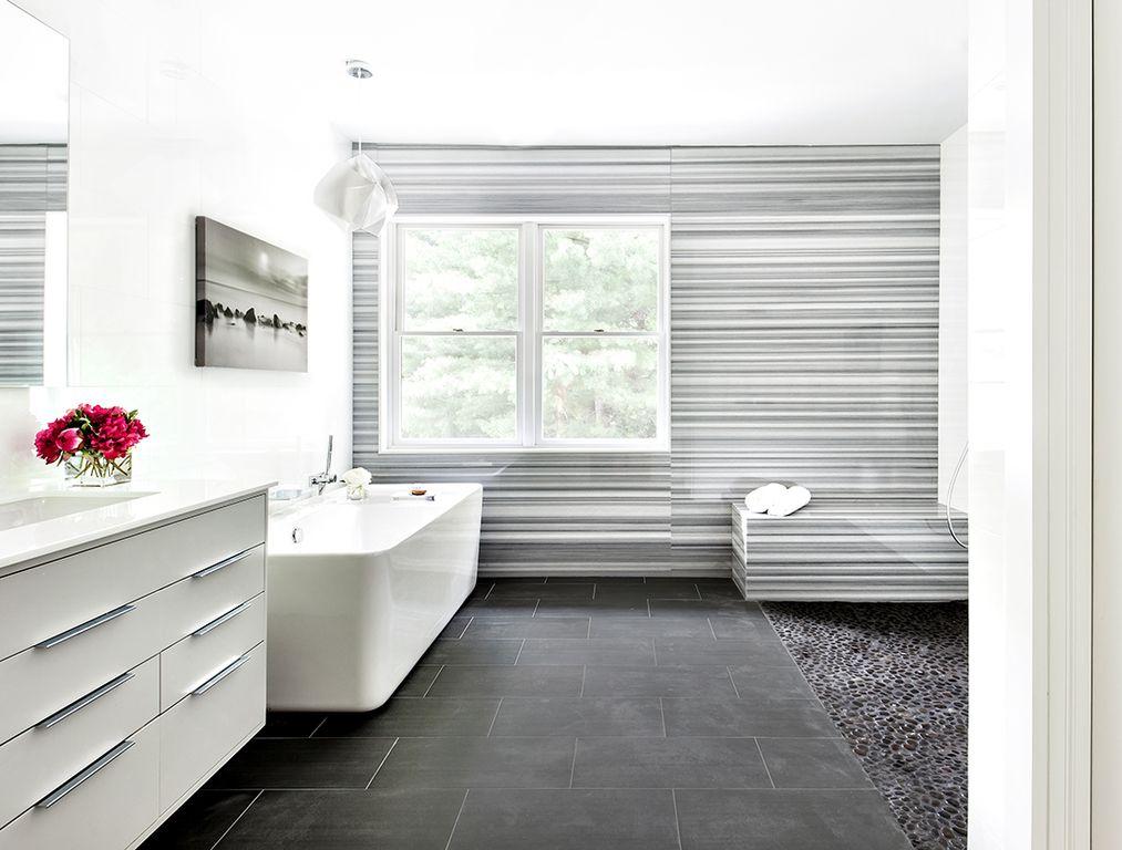 Modern Master Bathroom With Daltile Veranda Solids Gunmetal Porcelain Field Tile High Ceiling Pendant